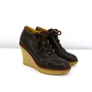 Bettye Muller Brown Granny Lace Gum Sole Wedge